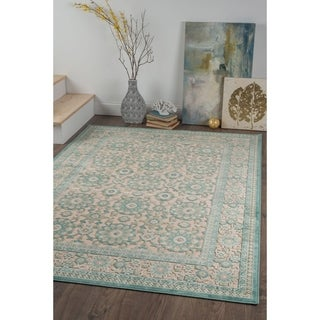 Alise Chenille Traditional Floral Blue Area Rug (5'2 x 7'3)
