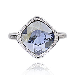 Sterling Silver Square Cushion Crystal Solitaire Ring (China)