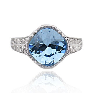 Sterling Silver Square Cushion Genuine Crystal Solitaire Ring (China)