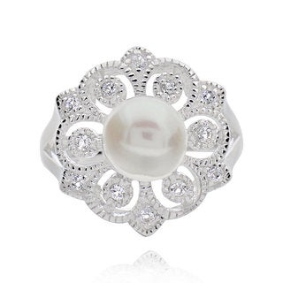 Sterling Silver Round Pearl and White Topaz Flower Ring