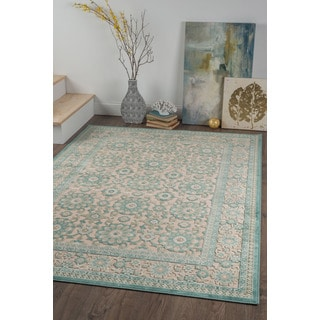 Alise Chenille Traditional Floral Blue Area Rug (7'8 x 10'3)