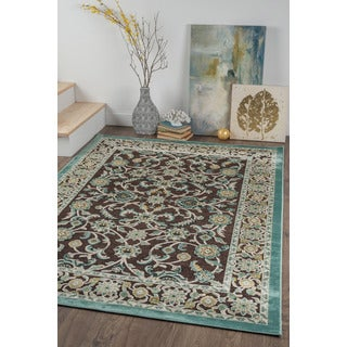 Alise Chenille Traditional Oriental Brown Area Rug (7'8 x 10'3)