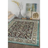 Alise Chenille Traditional Oriental Brown Area Rug - 7'8 x 10'3