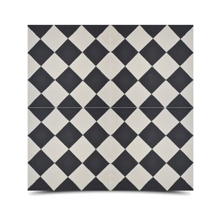 Pack of 12 Rabat Black and White Handmade Cement and Granite Moroccan 8 x 8-inch Floor and Wall Tile (Morocco)