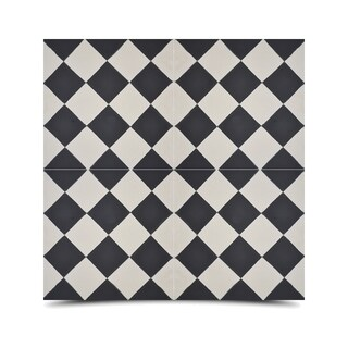 Rabat Black and White Handmade Moroccan 8 x 8 inch Cement and Granite Floor or Wall Tile (Case of 12)