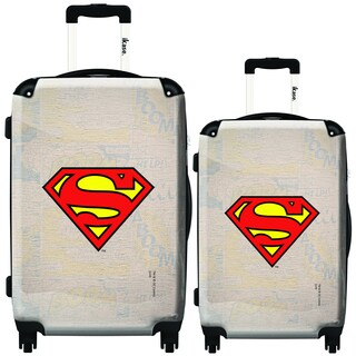 iKase Beige Superman Logo 2-piece Hardside Spinner Luggage Set