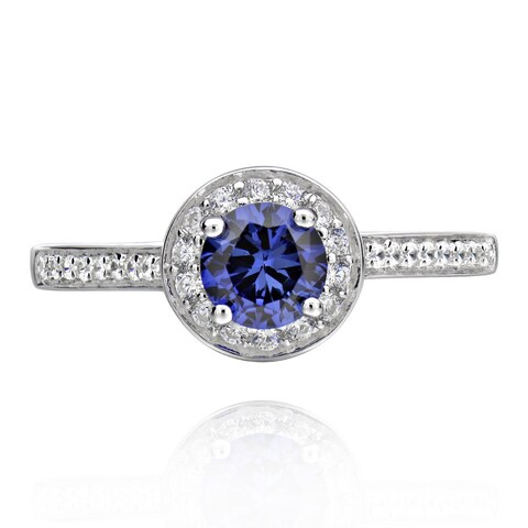 Sterling Silver Blue Created Sapphire and Cubic Zirconia Halo Ring (China)