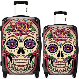 Frida-Khalo by IKASE, Multicolor Skull 2-piece Hardside Spinner Luggage Set