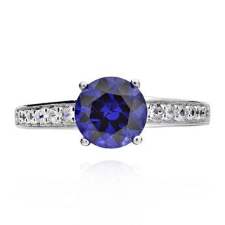 Sterling Silver Round Cubic Zirconia and Created Blue Sapphire Ring (China)
