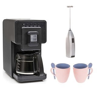 Capresso Triple Brew Coffee & Tea Maker + 16-Ounce Mug and Spoon (2-Pack) + Handheld Milk Frother
