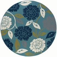 Alise Garden Town Transitional Round Floral Blue Area Rug - 7'10