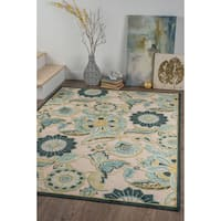 Alise Chenille Transitional Floral Blue Area Rug
