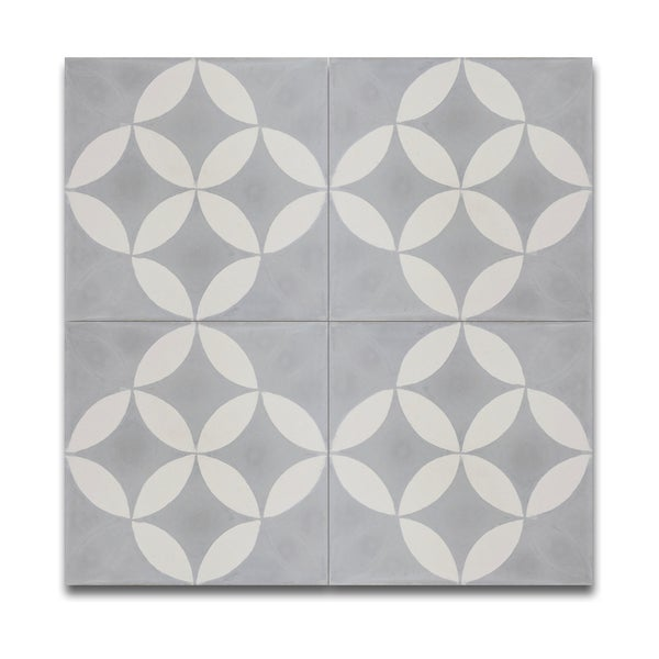 Pack of 12 amlo grey and white handmade cement and granite for Handmade cement tiles
