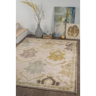Alise Chenille Transitional Oriental Beige Area Rug (5'2 x 7'3)