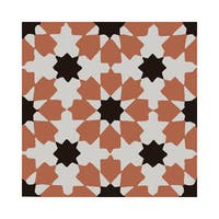 Ahfir Orange and Black Handmade Moroccan 8 x 8 inch Cement and Granite Floor or Wall Tile (Case of 12)