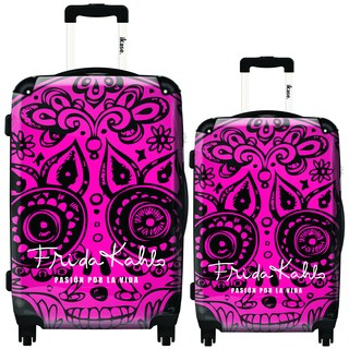 iKase Frida Kahlo Pink Skull 2-piece Hardside Spinner Luggage Set