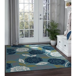 Alise Garden Town Transitional Floral Blue Area Rug (5'3 x 7'3)