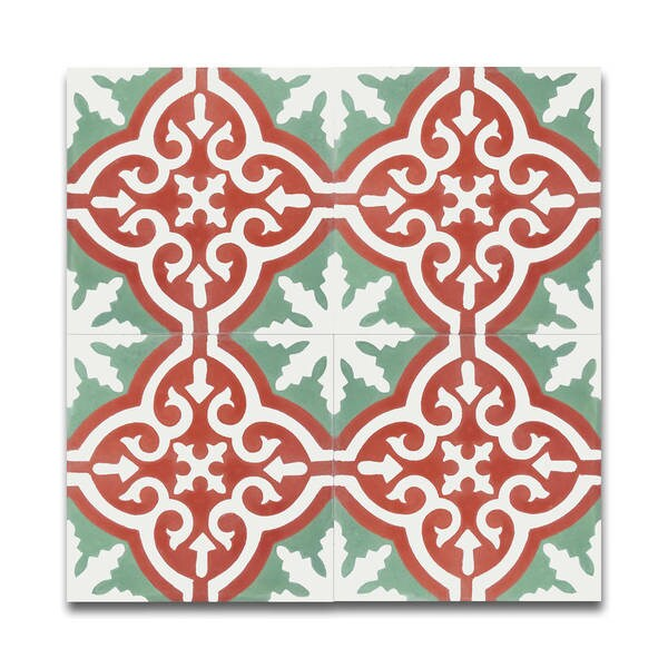 Argana Green and Red Handmade Moroccan 8 x 8 inch Cement and Granite Floor or Wall Tile (Case of 12)