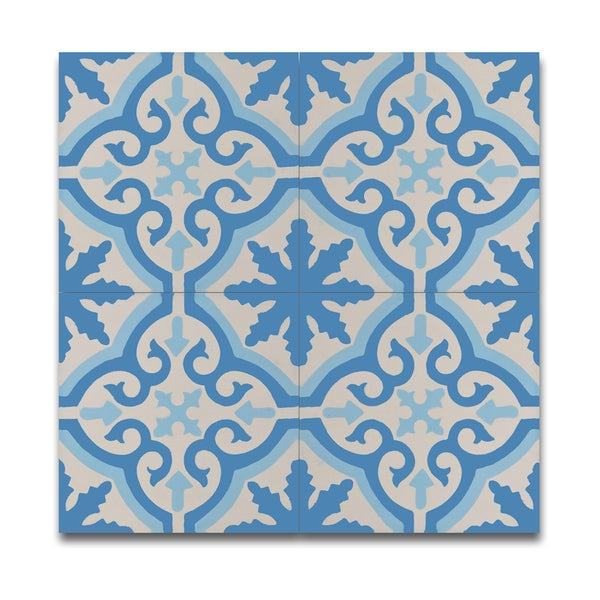 Pack Of 12 Argana Blue And White Handmade Cement And