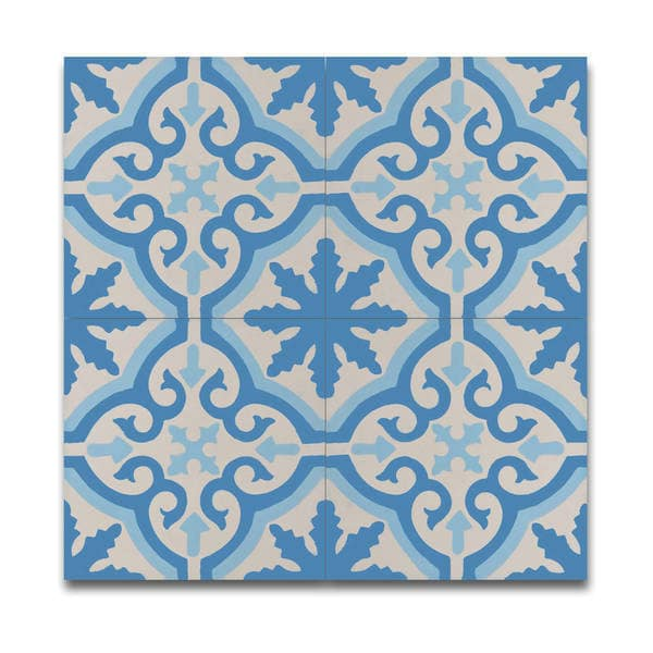 Shop argana blue and white handmade moroccan 8 x 8 inch for Blue and white cement tile