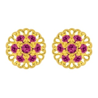 Lucia Costin Sterling Silver Fuchsia Crystal Earrings