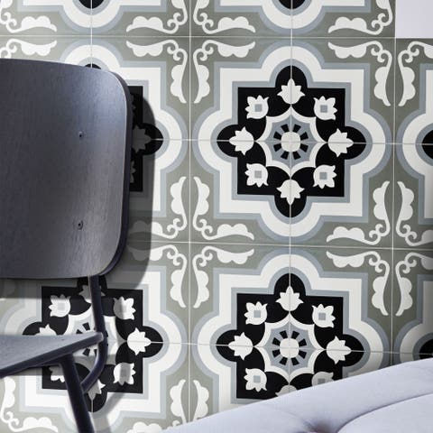 Taza in Black and Grey Handmade 8x8-inch Moroccan Tile (Pack of 12)