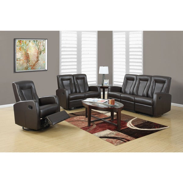 Shop Reclining Sofa Black Bonded Leather Free Shipping