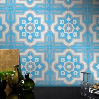 Taza in Blue and Grey Handmade 8x8-inch Moroccan Tile (Pack of 12)
