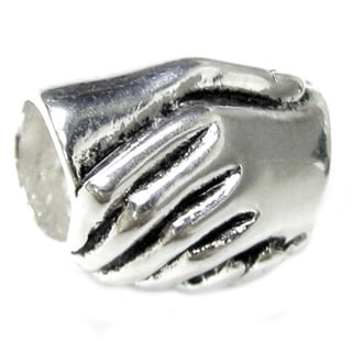 Queenberry Sterling Silver Friendship Hand Shake European Bead Charm