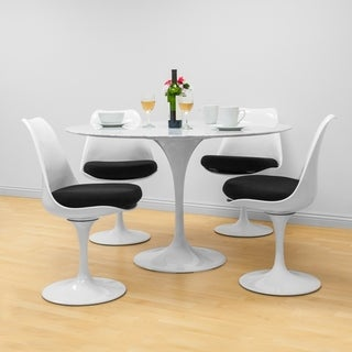 Mod Made Round Lily White Natural Marble 5-piece Dining Set