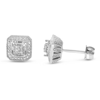 Sterling Silver 0.03 CTtw Diamond Square Shape Stud Earrings