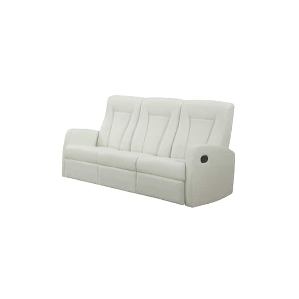 Terrific Reclining Sofa Ivory Bonded Leather Unemploymentrelief Wooden Chair Designs For Living Room Unemploymentrelieforg