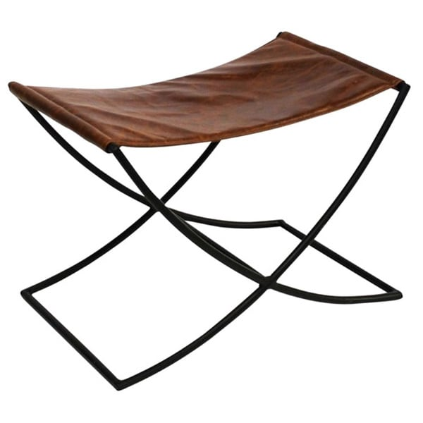 Shop Anti Brown Leather Sled Accent Bench Free Shipping