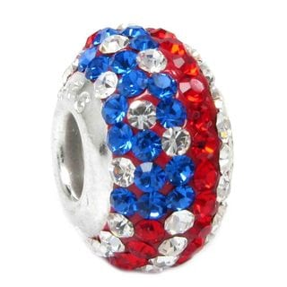 Queenberry Sterling Silver Round Blue Red White American Flag Ferido Crystals European Bead Charm