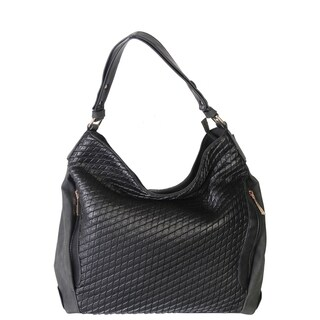 Rimen & Co. Faux PU Leather Quilted Hobo Women's Purse Handbag with 2 Additional Zipper Front Pocket and 1 Back Zipper Pocket