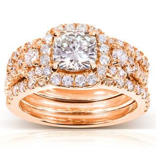 Annello 14k Rose Gold Forever One Cushion Moissanite and 1 1/3ct TDW Diamond 3-Piece Bridal Set (G-H, I1-I2)