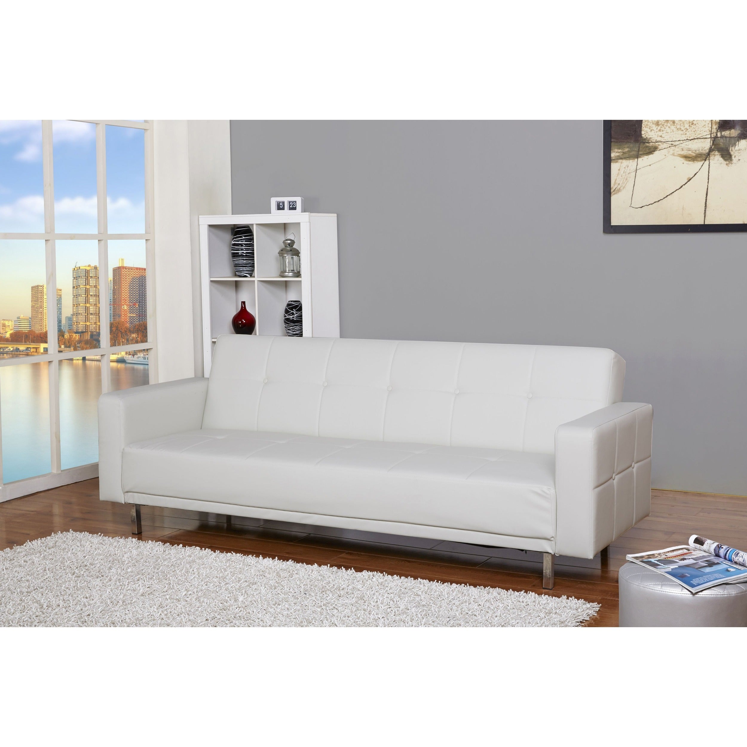 Gold Sparrow Cleveland White Convertible Sofa Bed