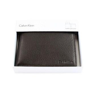 Calvin Klein Men's Brown Leather Billfold Wallet