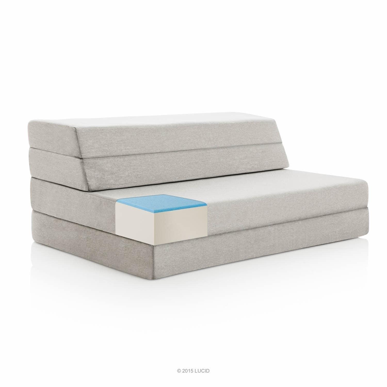 LUCID Comfort Collection 4 Inch Gel Folding Sofa - Grey (Twin)