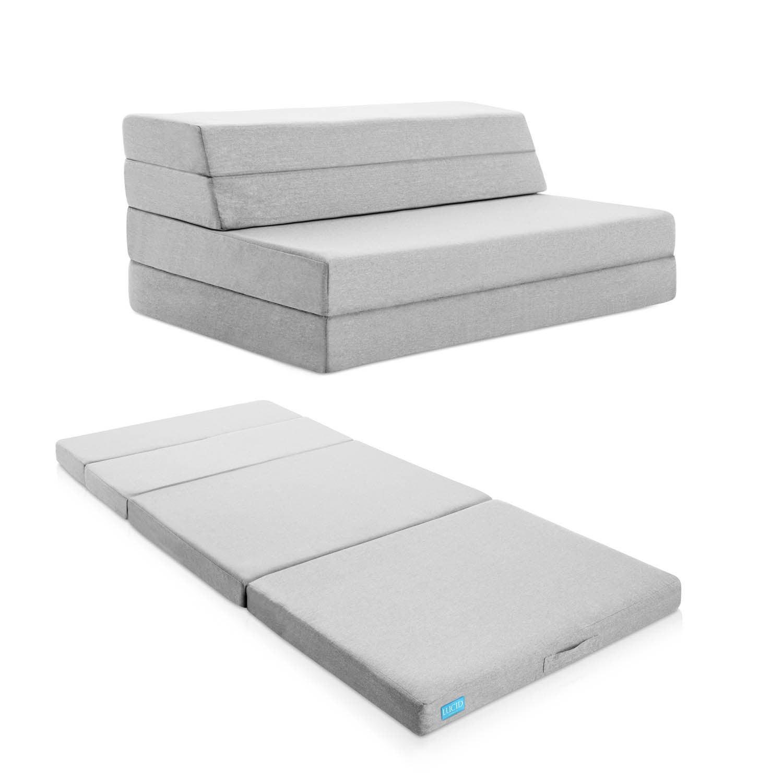 Lucid 4-inch Gel Memory Foam Folding Mattress/ Sofa (Quee...
