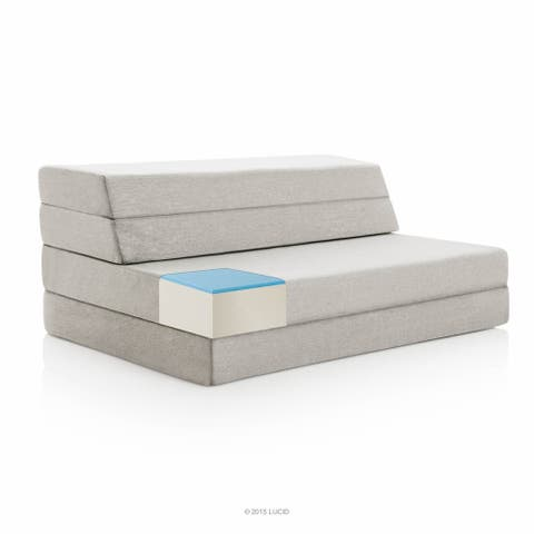 LUCID Comfort Collection 4 Inch Gel Folding Sofa - Grey