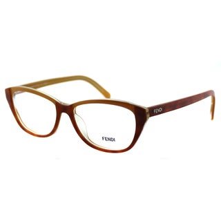 Fendi Womens FE 1002 249 Light Havana Plastic Rectangle Eyeglasses-52mm