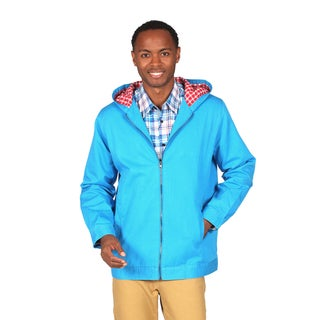 Filthy Etiquette 'Kenneth' Men's Bright Blue Canvas Hooded Jacket with Plaid Lining