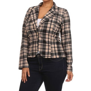 MOA Collection Women's Plus Size Plaid Print Blazer