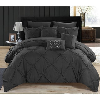 Valentina Black Pintuck Microfiber 10-Piece Bed in a Bag with Sheet Set