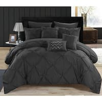 Oliver & James Ellsworth Black Pintuck Microfiber 10-piece Bed in a Bag