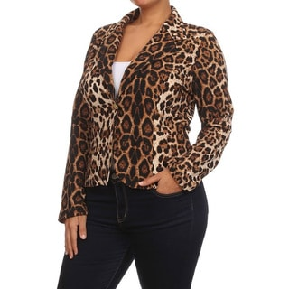 MOA Collection Women's Plus Size Leopard Blazer