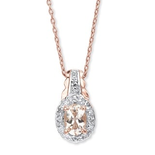 PalmBeach Two-tone Sterling Silver Pink Morganite and White Topaz Pendant Necklace