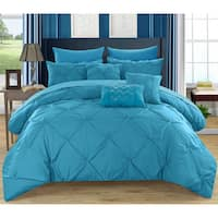 Chic Home Valentina Turquoise Pinch Pleated 10-Piece Bed in a Bag with Sheet Set