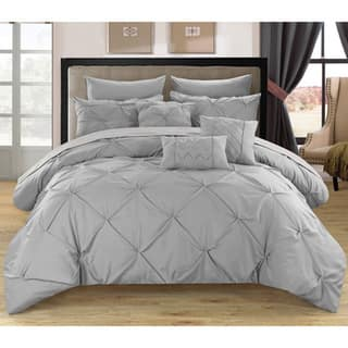 Chic Home Valentina Silver Pinch Pleated 10-Piece Bed in a Bag with Sheet Set